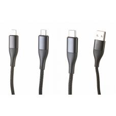 Кабель 3в1 Lightning/Micro-USB/Type-C SOLOVE Triple Data Cable Black (DW1)