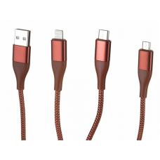 Кабель 3в1 Lightning/Micro-USB/Type-C SOLOVE Triple Data Cable Red (DW1)
